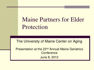 Maine Partners for Elder Protection