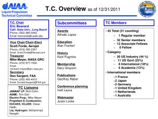 T.C. Overview  as of 12/31/2011