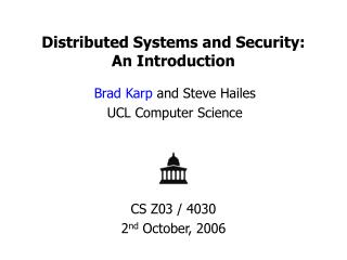 Distributed Systems and Security: An Introduction