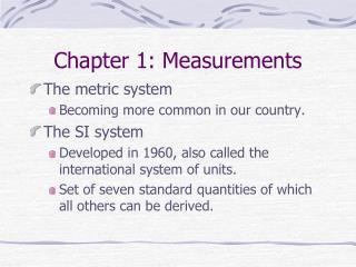 Chapter 1: Measurements