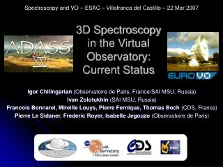 3D Spectroscopy in the Virtual Observatory: Current Status