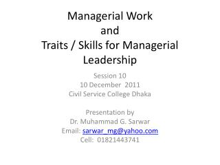 Managerial Work and Traits / Skills for Managerial Leadership
