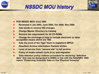 NSSDC MOU history