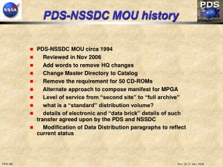 PDS-NSSDC MOU history