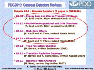 PDG2010: Gaseous Detectors Reviews