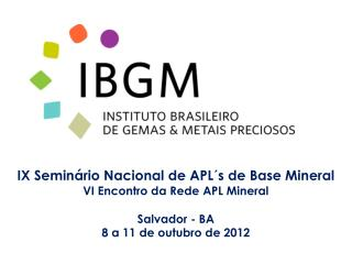 IX Seminário Nacional de APL´s de Base Mineral VI Encontro da Rede APL Mineral