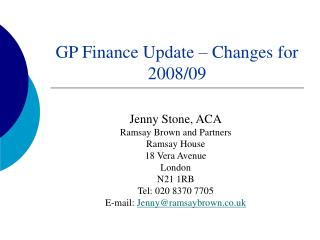 GP Finance Update – Changes for 2008/09