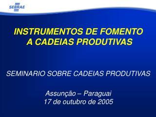 INSTRUMENTOS DE FOMENTO  A CADEIAS PRODUTIVAS SEMINARIO SOBRE CADEIAS PRODUTIVAS