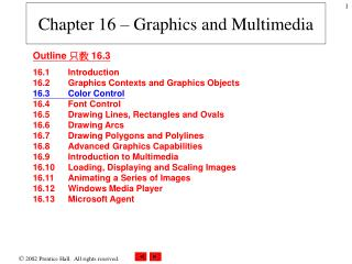 Chapter 16 – Graphics and Multimedia
