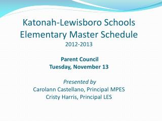 Important aspects of the elementary schedule…