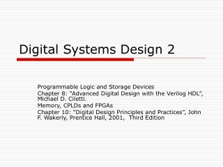 Digital Systems Design 2