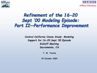 Refinement of the 16-20 Sept '00 Modeling Episode:  Part II—Performance Improvement