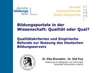 Bildungsportale in der Wissenschaft: Qualität oder Qual?