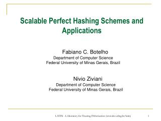 Scalable Perfect Hashing Schemes and Applications