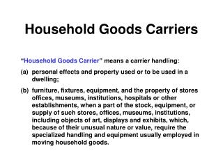 Household Goods Carriers