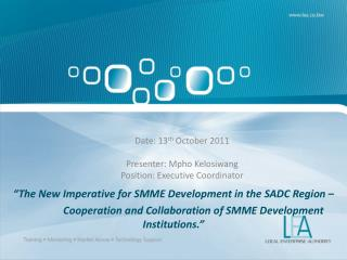 Date: 13 th  October 2011 Presenter: Mpho Kelosiwang Position: Executive Coordinator
