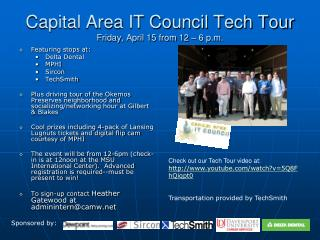 Capital Area IT Council Tech Tour  Friday, April 15 from 12 – 6 p.m.