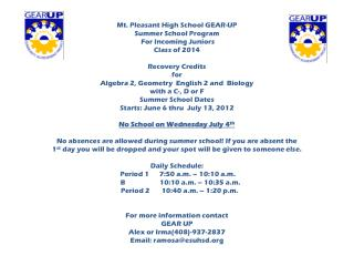 Mt. Pleasant High School GEAR-UP Summer School Program  For Incoming Juniors  Class of 2014