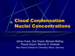 Cloud Condensation Nuclei Concentrations