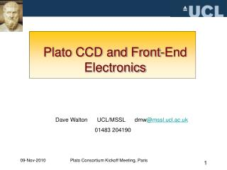 Plato CCD and Front-End Electronics