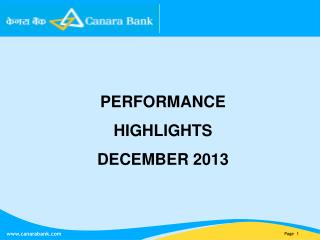 PERFORMANCE HIGHLIGHTS DECEMBER 2013