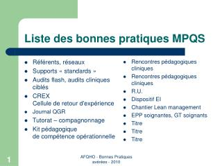 Liste des bonnes pratiques MPQS