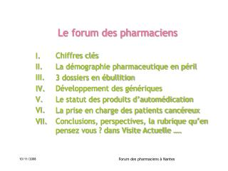 Le forum des pharmaciens