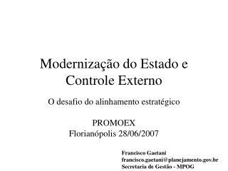 Modernização do Estado e Controle Externo