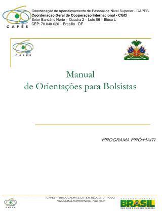 Manual  de Orientações para Bolsistas