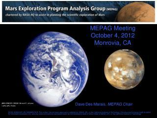 MEPAG Meeting October 4, 2012 Monrovia, CA