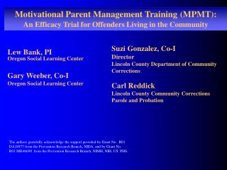 Motivational Parent Management Training (MPMT):
