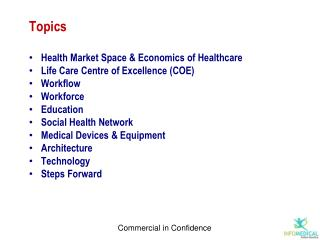 Topics Health Market Space & Economics of Healthcare Life Care Centre of Excellence (COE) Workflow