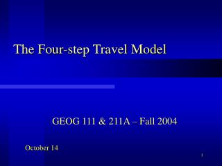 The Four-step Travel Model