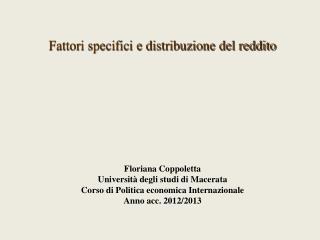 Fattori specifici e distribuzione del reddito