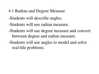 4.1 Radian and Degree Measure
