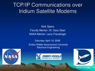 TCP/IP Communications over Iridium Satellite Modems