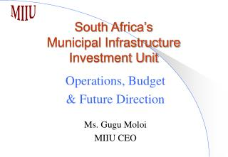 South Africa�s Municipal Infrastructure Investment Unit
