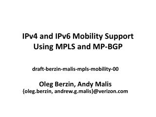 IPv4 and IPv6 Mobility Support Using MPLS and MP-BGP
