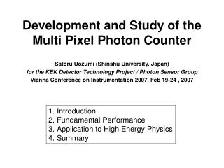 Development and Study of the Multi Pixel Photon Counter