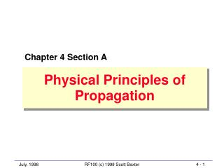 Physical Principles of Propagation