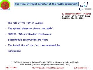 The Time Of Flight detector of the ALICE experiment