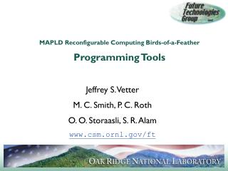 MAPLD Reconfigurable Computing Birds-of-a-Feather Programming Tools