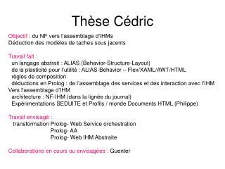 Thèse Cédric