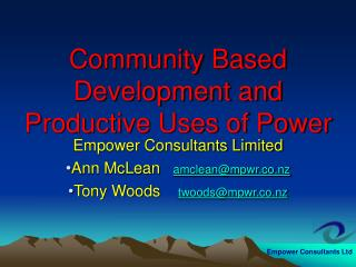 Community Based Development and Productive Uses of Power