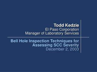 Todd Kedzie El Paso Corporation  Manager of Laboratory Services