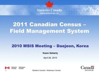 2011 Canadian Census – Field Management System