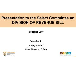 Presentation to the Select Committee on DIVISION OF REVENUE BILL
