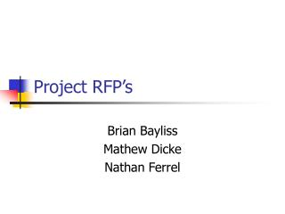 Project RFP's