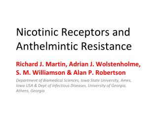 Nicotinic Receptors and Anthelmintic Resistance