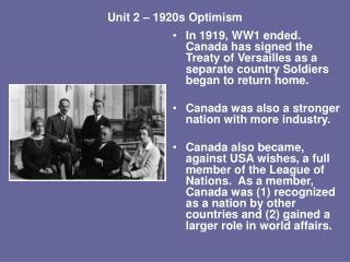 Unit 2 – 1920s Optimism